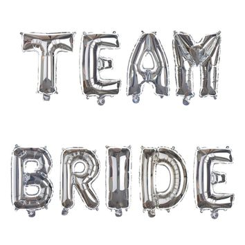 TEAM BRIDE Non-Floating Letter Balloons - 13 Inch Silver