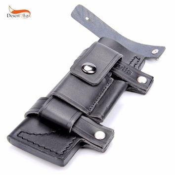 "Collectable Straight Man-made Survival Leather Belt Sheath Scabbard For 7"" Fixed Knife black Color 20 x 6.5 cm"