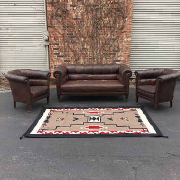 1920s Leather Club Chairs and Matching Sofa Loveseat, Distressed Furniture, Vintage Furniture