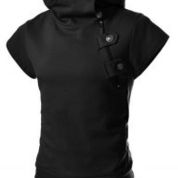 Black Zippered Short Sleeves Hoodies