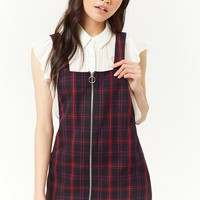 Plaid Pull-Ring Zipper Overall Dress