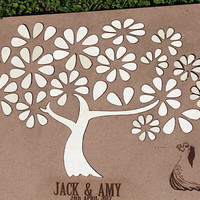 3D Wedding guest book alternative tree wood Rustic