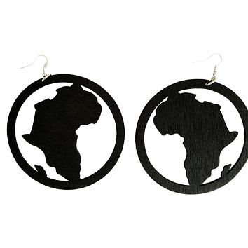 Wooden Map of Africa Hoop Earrings | Africa shaped earrings | African earrings | Natural hair earrings | Afrocentric earrings | jewelry | accessories