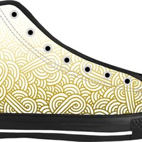 Gradient yellow and white swirls doodles Black High Tops