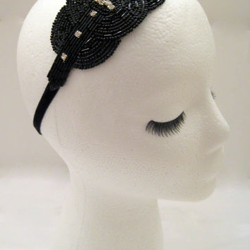 The Viola - black art deco hairpiece, black beaded 1920s headband, Gatsby hairband, black rhinestone headpiece, 1920s party headband