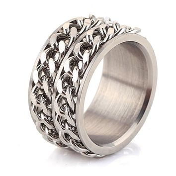 Men's jewelry fashion Stainless steel chain spinner rings for man and women
