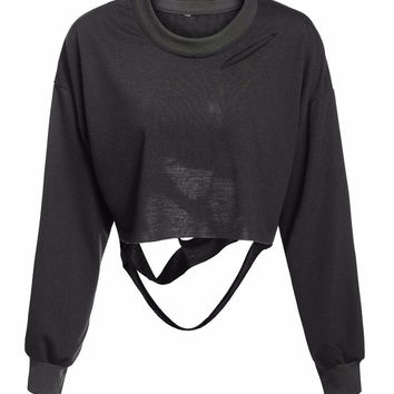 Distressed Cropped Pullover Sweatshirt