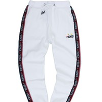 Fendi Tide brand letters and velvet beam casual pants white