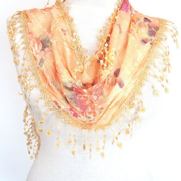 Somon Cotton Scarf With Fringed Lace, Fashion, Gift, Women, Summer Trends