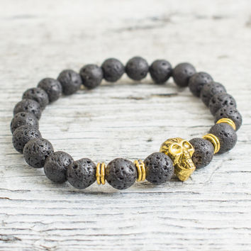 Black lava stone beaded gold Skull stretchy bracelet, made to order yoga bracelet, mens bracelet, womens bracelet