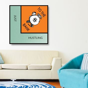 Monopoly Style Just Hustling To The Bank Motivational Framed Canvas Wall Art