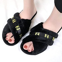 FENDI Autumn Winter Newest Fashion Women Fur Flats Sandals Slippers Shoes Black