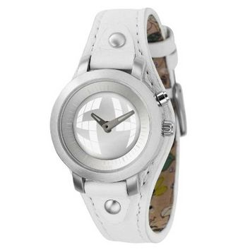 Fossil BG2199 Women's Analog-Digital Silver Dial White Leather Strap Watch
