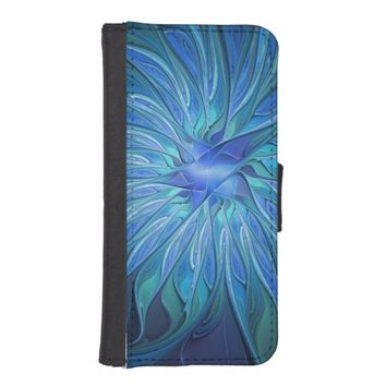 Blue Flower Fantasy Pattern, Abstract Fractal Art iPhone SE/5/5s Wallet