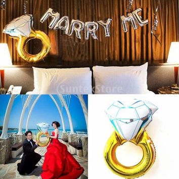 Large Foil Balloon Gold Diamond Ring Helium Balloons Bridal Shower Wedding Party 43inch