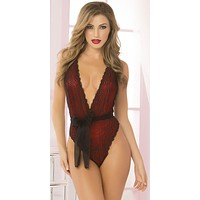 Late Night Plunging Holiday Lingerie Teddy Set