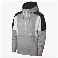 NIKE Autumn Winter Trending Stylish Stitching Color Matching Half Zipper Hooded Sweater Top Sweatshirt Grey