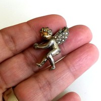Vtg ca1930s Small Cherub Pin Pave Rhinestone Paste Wings Gold Plated Silver