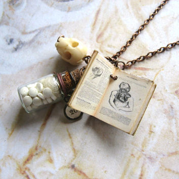 Medical Student - Handmade Copper Chain Necklace With Miniature Antique Medical Book, Bone Skull and Bottle of Medicine