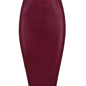 Vegan Leather Midi Length Skirt