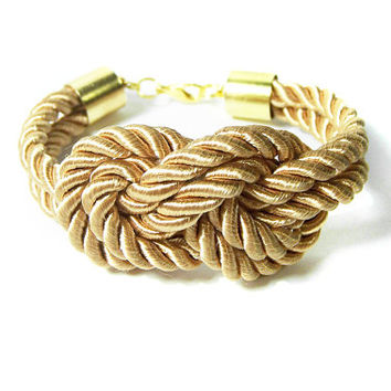 Rope Bracelet, Gold Nautical Knot Bracelet, Silk Cord Golden Beige Sailors Knot Bracelet, Bridesmaids Gold Rope Bracelet
