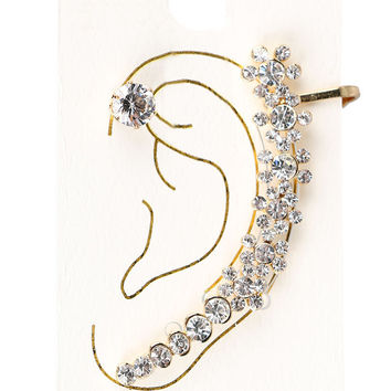 Golden Crystal Flower Decorated Ear Cuff