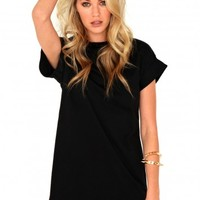 Missguided - Davina Oversized T-Shirt Dress In Black