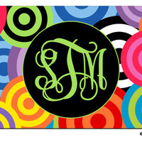PERSONALIZED LICENSE Plate  Funky Circles Bright Multi Color custom Car Tag Name Any Color Monogram