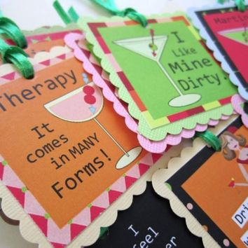 Funny Martini Cocktail Tags or Wine Bottle Label Gift Tags | adorebynat - Paper/Books on ArtFire