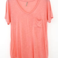 Perfectly Imperfect One-Pocket Shabby Tee, Coral Pink