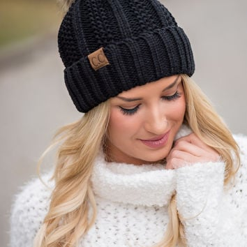 CC Knit Blanket Lined Fur Pom Pom Beanie (Black)