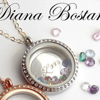 Mothers Day Stainless Steel CZ Halo Locket Necklace . Large Custom Sterling Disc . 3 Gemstones . Personalized, Stamped, Mom Grandma  Gift