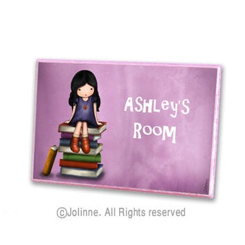 Girl on books purple personalized children door plaque sign, ready to hang, teacher classroom door sign, kids art decor, baby room sign