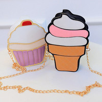 New Cute Cartoon Women Ice Cream Cupcake Mini Bags PU Leather Small Chain Clutch Crossbody Girl Shoulder Messenger Bag
