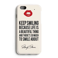 """Apple Iphone 6 4.7"""" Case - The Best 3d Full Wrap Iphone Case - Marilyn Monroe Quotes Keep Smiling"""