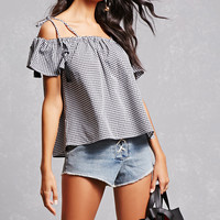 Gingham Open-Shoulder Top