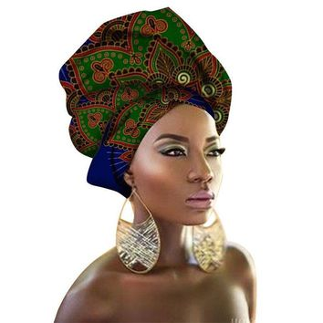 Haimeikang 100% Polyester fabric African Headwraps For Women Head Scarf For Lady Bandanas Hight Quality Cotton Women Headwraps