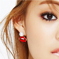 Korean Stylish Lovely Pearls Red Earring Accessory [4918909764]
