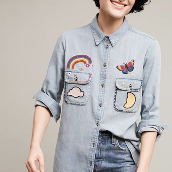 Printemps Patched Shirt, Blue