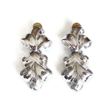 Givenchy Earrings, French Baroque, Silver Tone, Chandelier Dangle, Statement Earrings, Couture Runway, Vintage Jewelry