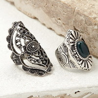 Filigree and Etched Ring Set