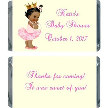 18 Princess Baby Shower Miniature Chocolate Bar Wrappers Dark Skin