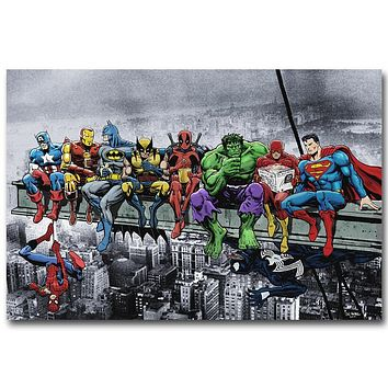 Pop Culture Lunch Atop a Skyscraper Funny Art Silk Poster Print Deadpool Hulk Batman Justice League Superhero Anime Wall Picture