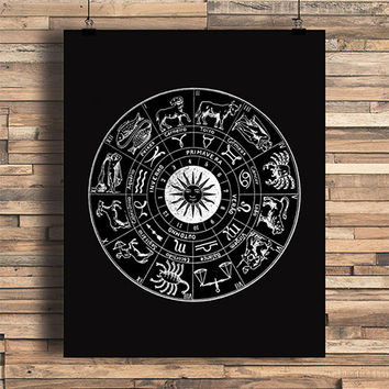 Astrology Chart, Horoscopes, Free Spirit, GypsyTheme, College Dorm Room, Indie, Hipster, Tattoo Design, Giclee Art Print
