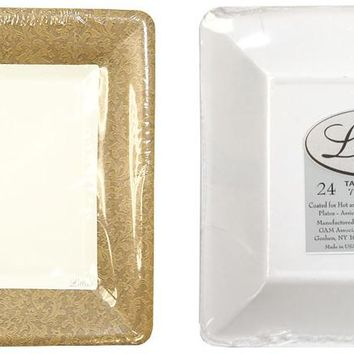 """texture gold 7"""" square dinner paper plates Case of 24"""
