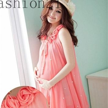 DCCKIX3 Rose Collar Sleeves Women Chiffon Maternity Dress for New Mommy = 1945710596