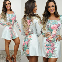 White Floral Print Long Sleeve Chiffon Dress