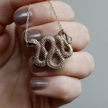Snake Necklace - Gold Snake Pendant . Snake Charm .Talisman . Neverending Story Necklace .  The Year of the Snake