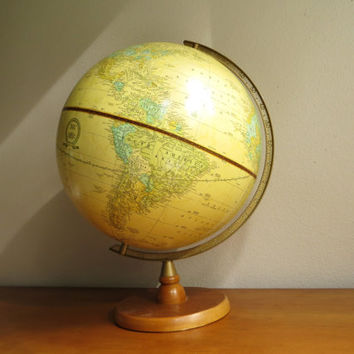 Vintage Cram's Imperial World Globe, Antique Gold Color Globe, 12 inch Diamenter Globe, Brown Wood Stand
