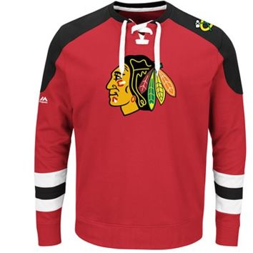 Chicago Blackhawks Mens Centre Long Sleeve Crew Neck Pullover Fleece